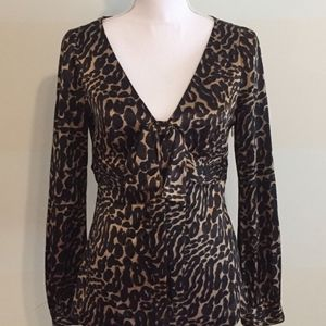 Tory Burch Leopard Print Bow-Tie Blouse